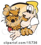 Poster, Art Print Of Blond Man Hugging His Happy Dog