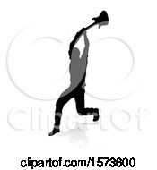 Clipart Of A Silhouetted Male Guitarist Smashing His Guitar With A Reflection Or Shadow On A White Background Royalty Free Vector Illustration
