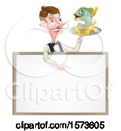 White Male Waiter With A Curling Mustache Holding Fish And A Chips On A Tray And Pointing Down Over A Menu
