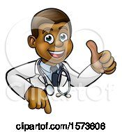 Cartoon Friendly Black Male Doctor Giving A Thumb Up Over A Sign