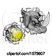Clipart Of A Tough Rhino Monster Mascot Holding A Tennis Ball In One Clawed Paw And Breaking Through A Wall Royalty Free Vector Illustration by AtStockIllustration