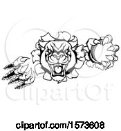 Clipart Of A Black And White Panther Holding A Cricket Ball Royalty Free Vector Illustration