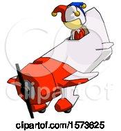 Poster, Art Print Of Yellow Jester Joker Man In Geebee Stunt Plane Descending View