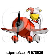 Poster, Art Print Of Yellow Jester Joker Man Flying In Geebee Stunt Plane Viewed From Below