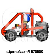 Poster, Art Print Of Yellow Jester Joker Man Riding Sports Buggy Side View