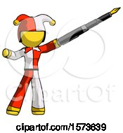 Yellow Jester Joker Man Pen Is Mightier Than The Sword Calligraphy Pose
