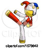 Yellow Jester Joker Man Ninja Kick Left