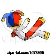Yellow Jester Joker Man Falling Backwards