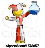Yellow Jester Joker Man Holding Large Round Flask Or Beaker