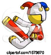 Yellow Jester Joker Man Flying Ninja Kick Left