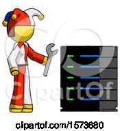 Yellow Jester Joker Man Server Administrator Doing Repairs