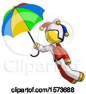 Yellow Jester Joker Man Flying With Rainbow Colored Umbrella