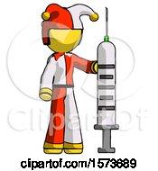 Yellow Jester Joker Man Holding Large Syringe