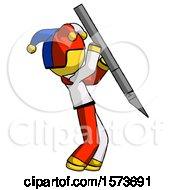 Yellow Jester Joker Man Stabbing Or Cutting With Scalpel
