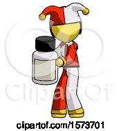 Yellow Jester Joker Man Holding White Medicine Bottle