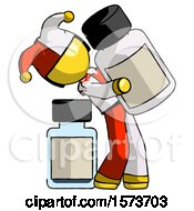 Yellow Jester Joker Man Holding Large White Medicine Bottle With Bottle In Background