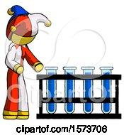 Yellow Jester Joker Man Using Test Tubes Or Vials On Rack