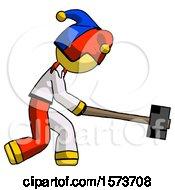Yellow Jester Joker Man Hitting With Sledgehammer Or Smashing Something