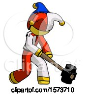 Yellow Jester Joker Man Hitting With Sledgehammer Or Smashing Something At Angle