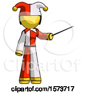 Poster, Art Print Of Yellow Jester Joker Man Teacher Or Conductor With Stick Or Baton Directing