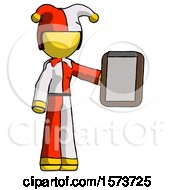 Yellow Jester Joker Man Showing Clipboard To Viewer