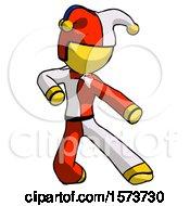 Yellow Jester Joker Man Karate Defense Pose Right
