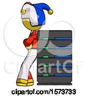 Yellow Jester Joker Man Resting Against Server Rack