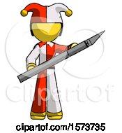 Yellow Jester Joker Man Holding Large Scalpel