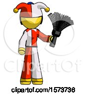 Yellow Jester Joker Man Holding Feather Duster Facing Forward