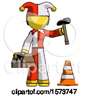 Yellow Jester Joker Man Under Construction Concept Traffic Cone And Tools
