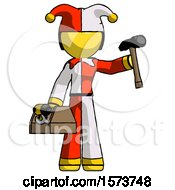Yellow Jester Joker Man Holding Tools And Toolchest Ready To Work