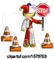 Yellow Jester Joker Man Holding Stop Sign By Traffic Cones Under Construction Concept
