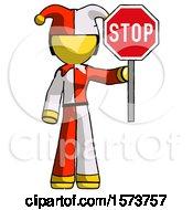 Yellow Jester Joker Man Holding Stop Sign