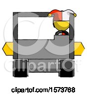 Poster, Art Print Of Yellow Jester Joker Man Driving Amphibious Tracked Vehicle Front View