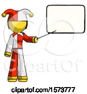 Poster, Art Print Of Yellow Jester Joker Man Giving Presentation In Front Of Dry-Erase Board