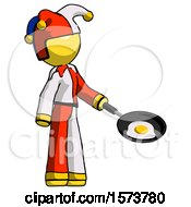 Yellow Jester Joker Man Frying Egg In Pan Or Wok Facing Right
