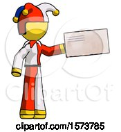 Yellow Jester Joker Man Holding Large Envelope