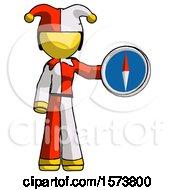 Yellow Jester Joker Man Holding A Large Compass