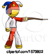 Yellow Jester Joker Man Pointing With Hiking Stick