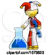 Yellow Jester Joker Man Holding Test Tube Beside Beaker Or Flask