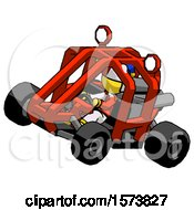 Poster, Art Print Of Yellow Jester Joker Man Riding Sports Buggy Side Top Angle View