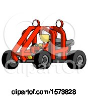 Yellow Jester Joker Man Riding Sports Buggy Side Angle View