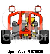 Poster, Art Print Of Yellow Jester Joker Man Riding Sports Buggy Front View