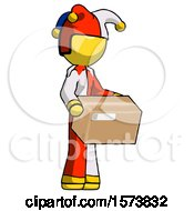 Yellow Jester Joker Man Holding Package To Send Or Recieve In Mail