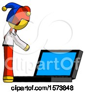 Yellow Jester Joker Man Using Large Laptop Computer Side Orthographic View