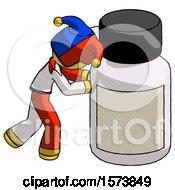 Yellow Jester Joker Man Pushing Large Medicine Bottle