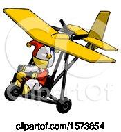 Yellow Jester Joker Man In Ultralight Aircraft Top Side View