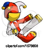 Yellow Jester Joker Man Flying Ninja Kick Right