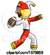 Yellow Jester Joker Man Throwing Football