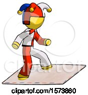 Yellow Jester Joker Man On Postage Envelope Surfing